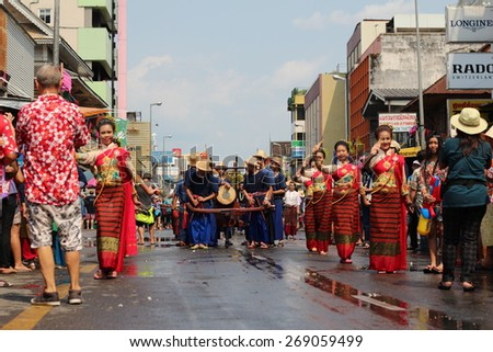 CHIANG MAI THAILAND-APRIL 13:Chiangmai Songkran festival.The tradition of bathing the Buddha Phra Singh marched on an annual basis. With respect to faith.on April 13,2015 in Chiangmai,Thailand.
