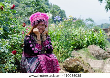 CHIANG MAI, THAILAND-APRIL 23,2016:  girl mong doipui in garden and sunlight, Thailand  - stock photo