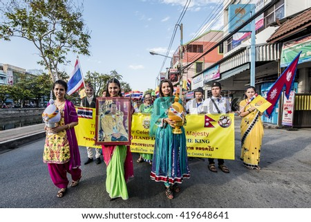 CHIANG MAI, THAILAND - DEC 04, 2015: Unidentified Indians  Merchants in Chiang Mai participants in the celebration of the 88th birthday of Thailand King Bhumibol Adulyadej,  - stock photo
