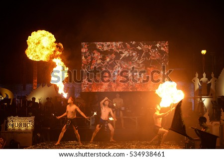 CHIANG MAI THAILAND - DECEMBER 11, 2016 : Chiang Mai Music Fest., Exhibition to honor the 70 years the King's reign ,Unidentified men dressed in a traditional dance show ensembles. (Public event)