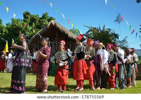CHIANG MAI, THAILAND - DECEMBER 5 : Manau traditional event of Kachin's tribe to worship God and wish The king of Thailand on 5 December 2012 at Banmai Samahki, Chiang Dao, Chiang Mai, Thailand
