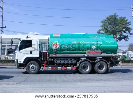 CHIANG MAI, THAILAND - DECEMBER  30 2014: Oil Truck of PTG Energy Oil transport Company.  Photo at road no.1001 about 8 km from city center, thailand. - stock photo