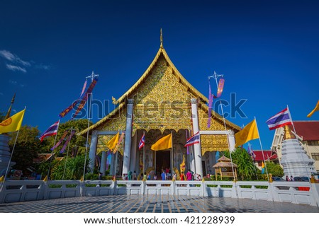 Chiang Mai, Thailand - December 6,2015: Wat Chedi Luang is a Buddhist temple in the historic centre of Chiang Mai, Thailand. - stock photo