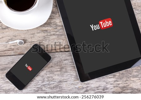 Chiang mai,THAILAND Fab 25, 2015YouTube service that provides a video hosting service. Users can add, view, comment and share videos with friends. - stock photo
