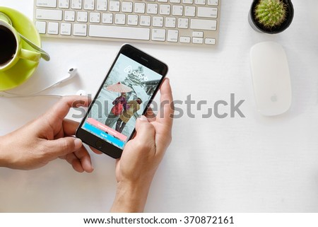 CHIANG MAI, THAILAND - FEB 2 2016: Apple iPhone 6 plus Showing  Airbnb application on the screen. Airbnb is a website for people to list, find, and rent lodging. - stock photo