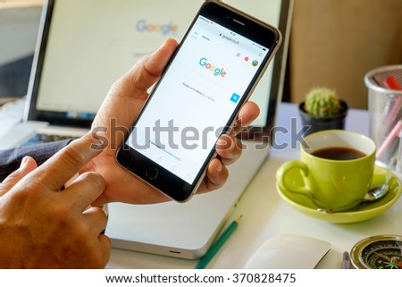 CHIANG MAI ,THAILAND FEB 2 2016 : iPhone 6 Plus Space Gray with social networking service Google on the screen. iPhone 6 was created and developed by the Apple inc. - stock photo