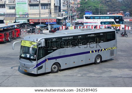CHIANG MAI, THAILAND - FEBRUARY 28 2015: Bus of Yellow bus Company. Route Phuket and Huahin.  Photo at New Chiangmai bus station, thailand. - stock photo