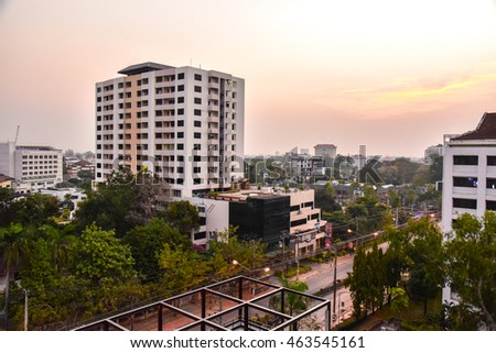 Chiang Mai, Thailand - FEBRUARY 22, 2016: Downtown Chiang Mai During Sunset