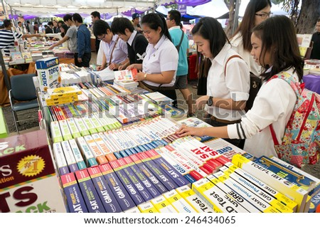 CHIANG MAI, THAILAND - JANUARY 23 : CHIANG MAI UNIVERSITY Book Fair (CMU.) Students and the public attention on the purchase price has been held annually on January 23 , 2015 in Chiang Mai,Thailand. - stock photo