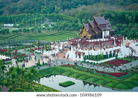 Chiang Mai, Thailand - 16 January, 2012:  Royal pavilion ( (Ho Kum Luang) in  traditional Lanna style at Royal Flora Ratchaphruek Exhibition in Chiang Mai, Thailand - stock photo
