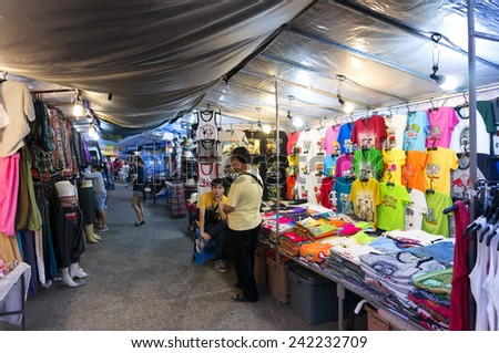 CHIANG MAI THAILAND - JANUARY 6 : Tha - Pae Gate market walking street, Popular tourist souvenirs and visit the local craft market is be held everyday. on January 6, 2015 in Chiang Mai, Thailand. - stock photo