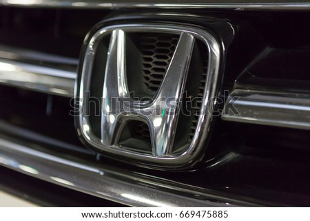 CHIANG MAI, THAILAND - July 1,2017: Logo of Honda car on display at Honda Showroom.