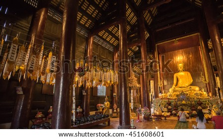 CHIANG MAI, THAILAND 13 July 2016 photo of Golden buddha statue in Wat Wat Phan Tao Temple on Asaha Puja Day.