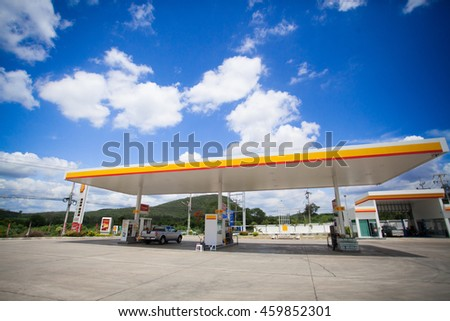 CHIANG MAI ,THAILAND, July 22, 2016: SHELL gas station in CHIANG MAI town, CHIANG MAI province, Thailand. SHELL is largest oil company in Thailand.