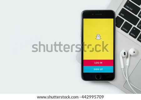 CHIANG MAI, THAILAND - Jun 24,2016: Apple iPhone with Snapchat application on the screen. Snapchat is a mobile messaging application for sharing photos, videos, text, and drawings.