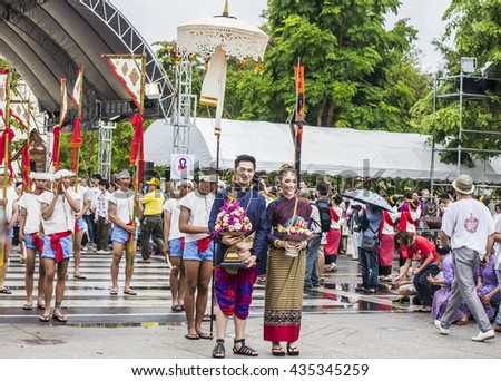 CHIANG MAI THAILAND-JUNE,10,2016:The Beautiful Parade Invite Buddha Relic From Jomthong District to Chiang Mai City
