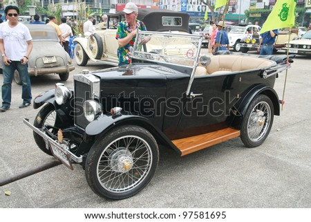 CHIANG MAI, THAILAND - MAR 10: Morris vintage old classic car show in 1st Chiang Mai old classic car show Festival on March 10,2012 at Tha Phae Gate in Chiang Mai Thailand. - stock photo