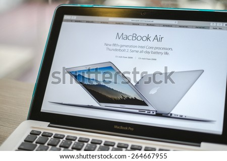 CHIANG MAI, THAILAND - March 10, 2015: Apple Computers website close up details on Apple Macbook Pro with the New Macbook Air Apple laptop. - stock photo
