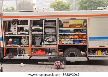 Chiang Mai, Thailand - March 25, 2016: equipment in emergency car in mock disaster drill at Maya shopping center in Chiang Mai, Thailand on March 25, 2016.
