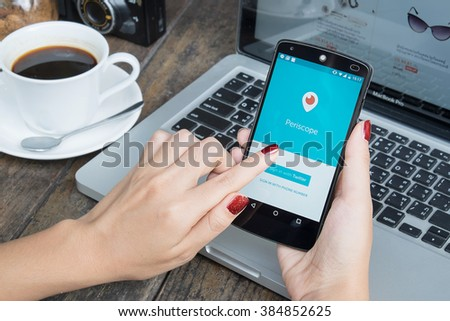 CHIANG MAI, THAILAND -March 2, 2016:LG Nexus 5 open Periscope app . Periscope is made by Twitter - lets you broadcast live video to the world. - stock photo