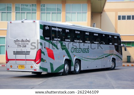 CHIANG MAI, THAILAND - MARCH 18 2015: New Scania 15 Meter bus of Greenbus company. Route Phuket and Chiangmai. VIP bus with personal lcd tv, Photo at Chiangmai bus station, thailand. - stock photo