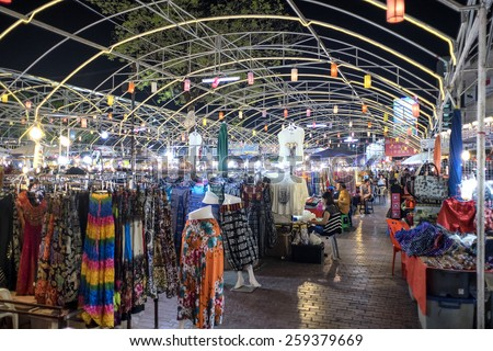 CHIANG MAI THAILAND - MARCH 10 : Night Bazaar market, One of trips travel night market of tourists to come and shop for souvenirs. on March 10 , 2015 in Chiang Mai, Thailand. - stock photo