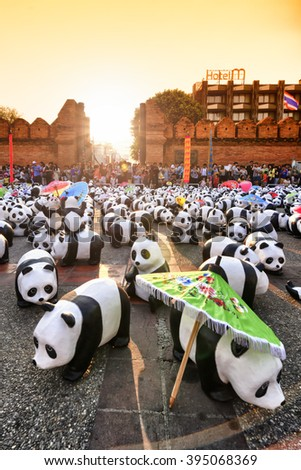 Chiang Mai Thailand - March 19 , 2016 : 1600 Pandas+ WWF. THAILAND, Exhibitions art of 1600 pandas. is part promoting the conservation of wildlife of Thailand, This event show at Tha Pae Gate plaza.  - stock photo
