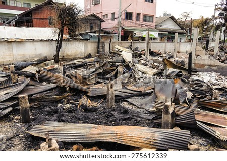 CHIANG MAI THAILAND - MAY 6 : Fire residence about 20 houses in dense urban neighborhoods. Houses all the damage is very serious and the death of one person. on May 6, 2015 in Chiangmai,Thailand. - stock photo