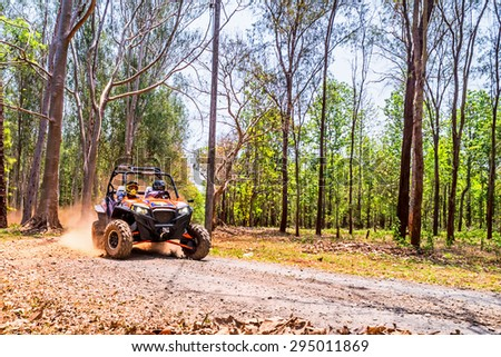 CHIANG MAI, THAILAND - MAY 03: Undefined Driver on Side-by-Side Vehicles (UTV) on countryside roads, May 03, 2015 in Chiang mai, Thailand. - stock photo