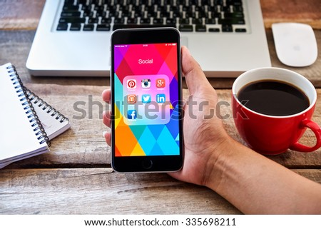 CHIANG MAI, THAILAND - NOV 05 ,2015 Group of Popular Social networks icons showing on Apple iPhone 6 plus screen device.  - stock photo