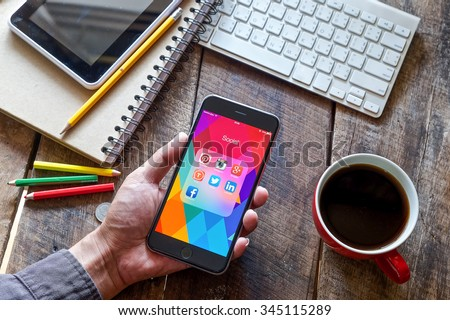 CHIANG MAI, THAILAND - NOV 30,2015 Group of Popular Social networks icons showing on Apple iPhone 6 plus screen device.  - stock photo