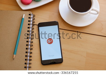 CHIANG MAI ,THAILAND - NOV 07, 2015:  iPhone 6 Plus with social networking service Google on the screen. iPhone 6 was created and developed by the Apple inc. - stock photo