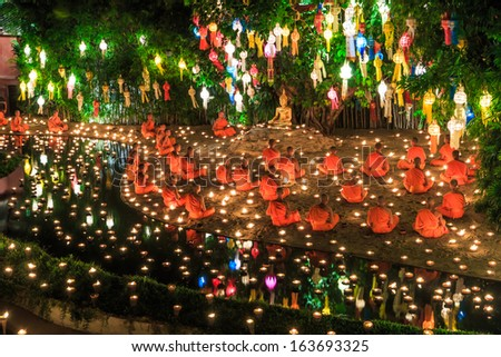 CHIANG MAI THAILAND-NOVEMBER 17 : Loy Krathong festival in Chiangmai.Tradition al monk Lights floating balloon made of paper annually at Wat Phan Tao temple.on November 17,2013 in Chiangmai,Thailand