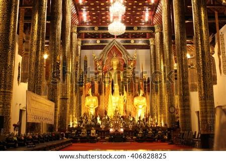 CHIANG MAI, THAILAND - NOVEMBER 8: The Buddha in Viharn at Chedi Laung Temple captures on November 8, 2014 at Chiang Mai, Thailand, is a Buddhist temple in the historic center of Chiang Mai, Thailand. - stock photo