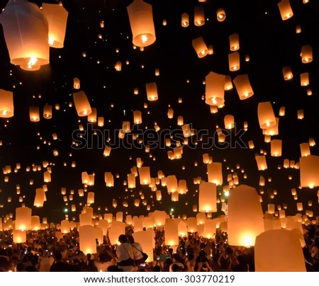 CHIANG MAI, THAILAND - OCTOBER 25, 2014 : Floating lanterns festival or Yeepeng ceremony, traditional Lanna Buddhist annual ceremony in Chiang Mai, Thailand.