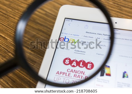 CHIANG MAI, THAILAND - September 17, 2014: Close up of ebay.com website on a Apple iPad Air screen. ebay is one of the largest online auction and shopping websites. - stock photo