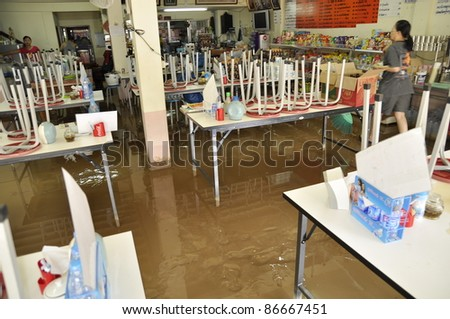 CHIANG MAI THAILAND - SEPTEMBER 29 : Flooding the Chiangmai city.Flood damage over a wide area stores on September 29,2011 in Chiangmai,Thailand - stock photo