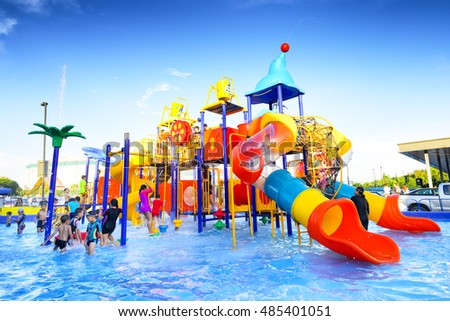 Chiang Mai Thailand - September 17, 2016 : Robinson water park, Unidentified kids are fun to play on outdoor water park at Central Plaza Chiang Mai airport shopping center.