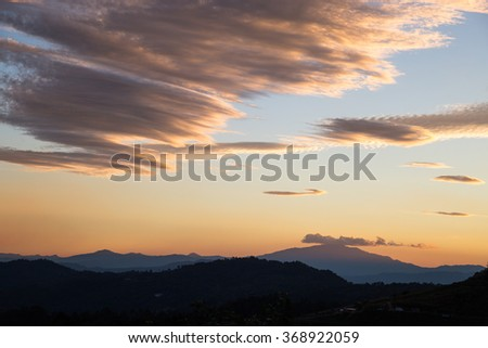 CHIANG MAI, THAILAND :Sunset and Bluesky, Viewpoint at monjam resort, Chiang Mai, Thailand
