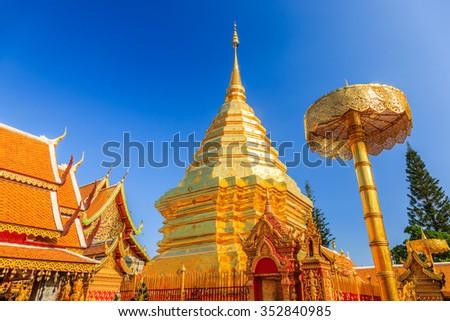 Chiang Mai, Thailand. Wat Doi Shutep, golden pagoda. - stock photo