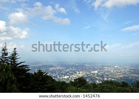 Chiang Mai view from Doi Suthep, Thailand - stock photo