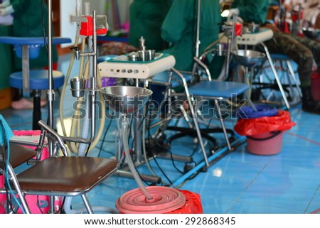 CHIANG RAI, THAILAND -APRIL 5 2015: Unidentified dentist volunteer from public hospital are in medical services at Ban La Ba school  on April 5,2015 in Chiang rai,Thailand.