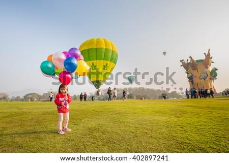 CHIANG RAI, THAILAND - FEBRUARY 14 : Hot air balloon in the sky at SINGHA PARK CHIANG RAI BALLOON FIESTA 2016 , Chiang rai province, Thailand - stock photo