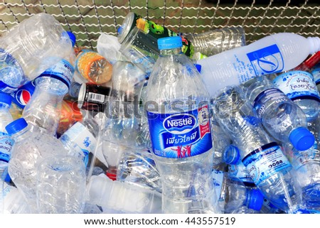 CHIANG RAI, THAILAND - JUNE 25, 2016 The plastic is gathered to be recycled - stock photo