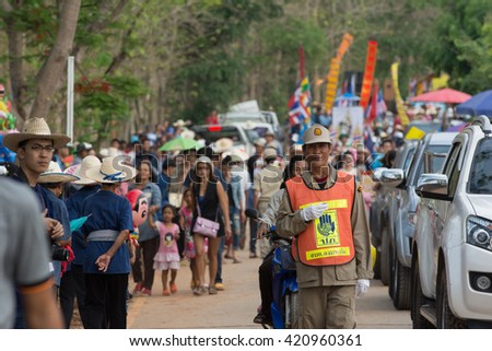 CHIANG RAI,THAILAND - MAY 15 :Parade of Thai people in Rocket festival 'Boon Bang Fai Lanna' celebration plentiful rains during rice plant season,on May 15,2016 Wiang Chiang Rung,Chiang rai,Thailand