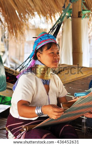 CHIANG RAI, THAILAND - MAY 05 : Unidentified Long Neck Karen hill tribe woman on May 05, 2016 in Chiang Rai, Thailand.