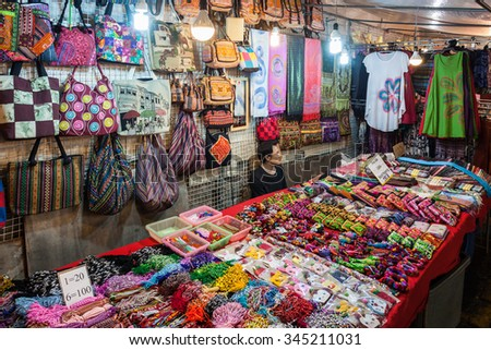CHIANG RAI, THAILAND - NOVEMBER 05, 2014: Textile shop in Chiang Rai Night Market.