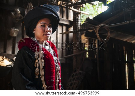CHIANG RAI,THAILAND - NOVEMBER 22, 2015 : Unidentified woman in traditional clothes of Yao hill tribe  in Chiang Rai Province Chiang Rai is the northernmost province of Thailand.