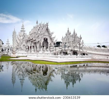 Chiang Rai Thailand, Wat Rong Khun white temple - stock photo