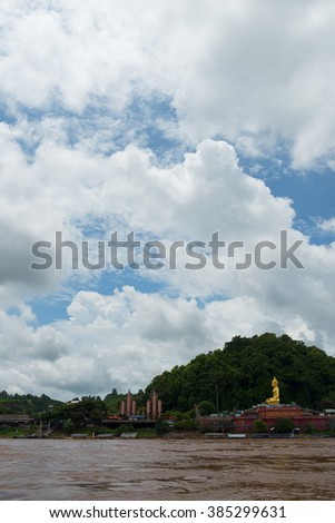 CHIANG SAEN, THAILAND - AUGUST 31, 2015: Beautiful view of Mekong river from the tourist boat. The Golden Triangle area is a main tourists attraction in Chiang Saen, Thailand.